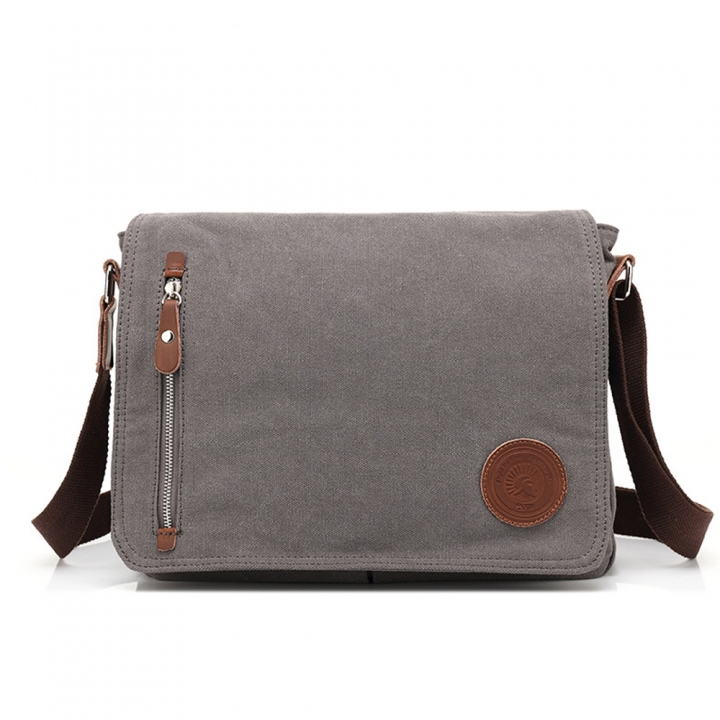 Canvas Messenger Bags Shoulder Bag Men Business Bag Travel Schoolbag Women Package gray one size