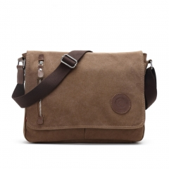 Canvas Messenger Bags Shoulder Bag Men Business Bag Travel Schoolbag Women Package coffee one size