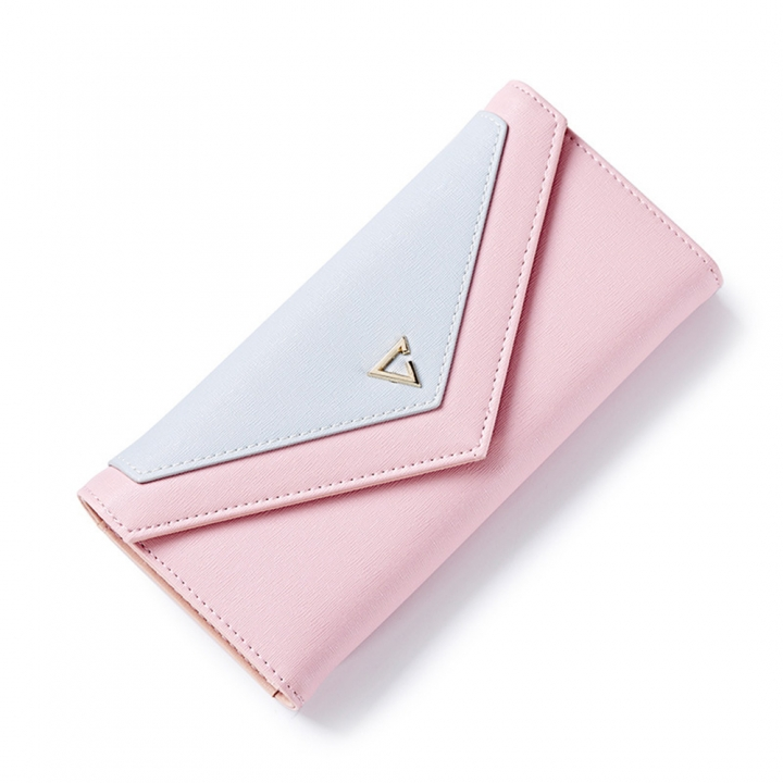 WEICHEN Envelope Clutch Wallet Women PU Leather Hasp Fashion Money Bags Coin Purse pink one size