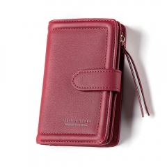 WEICHEN Women Wallet Lady Clutch Wallets Girl Coin Purse Credit Card Holder wine red one size