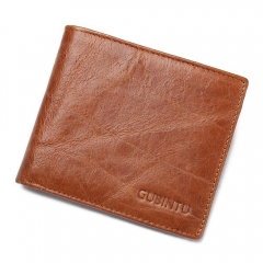Fashion Men Genuine Leather Wallets Credit Card RFID Blocking Vintage Casual Cowhide Purse brown one size