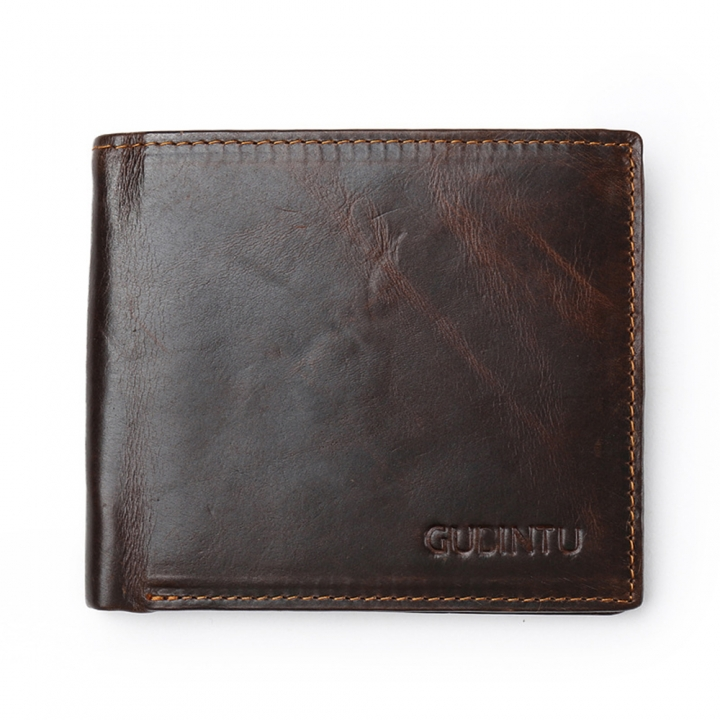 Fashion Men Genuine Leather Wallets Credit Card RFID Blocking Vintage Casual Cowhide Purse coffee one size