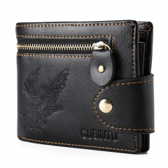 Men Fashion Mini Zipper Wallet Male Pu Leather Card Cash Receipt Bags Holder Boys Clutch Purse black one size