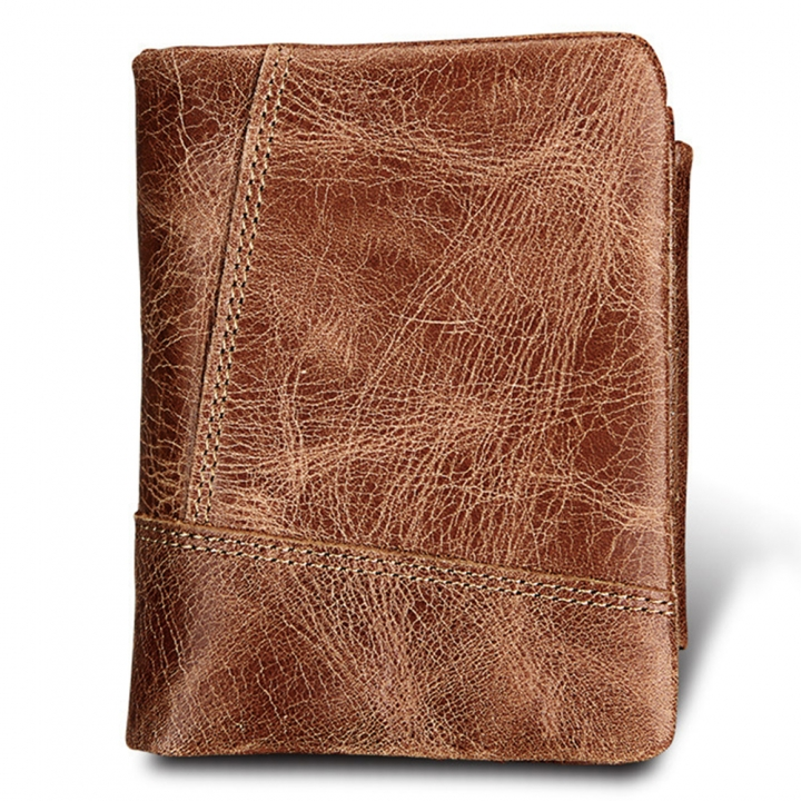 Crazy Horse Cowhide Genuine Leather Men Wallets Short Style Fashion Male Vintage Purse Clutch brown one size