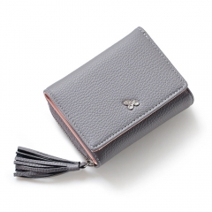 Tassels Zipper Hasp Women Wallet Coin Card Cash Fashion Lady Small Purse Short Solid Female Clutch gray one size