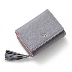Tassels Zipper Hasp Women Wallet Coin Card Cash Fashion Lady Small Purse Short Solid Female Clutch gray one size