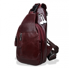Genuine Leather Men Shoulder Bag Casual Cowhide Men Messenger Bags Travel Chest Backpack red one size