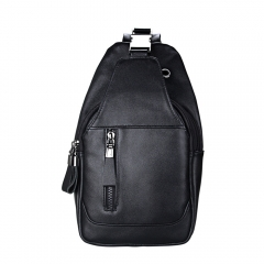 Genuine Leather Men Shoulder Bag Casual Cowhide Men Messenger Bags Travel Chest Backpack black one size