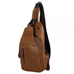 Genuine Leather Men Shoulder Bag Casual Cowhide Men Messenger Bags Travel Chest Backpack brown one size