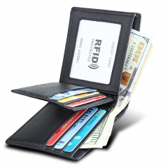 Men Short Genuine Leather Cowhide Wallet Fashion Card Holder Coin Money Male Purse black one size