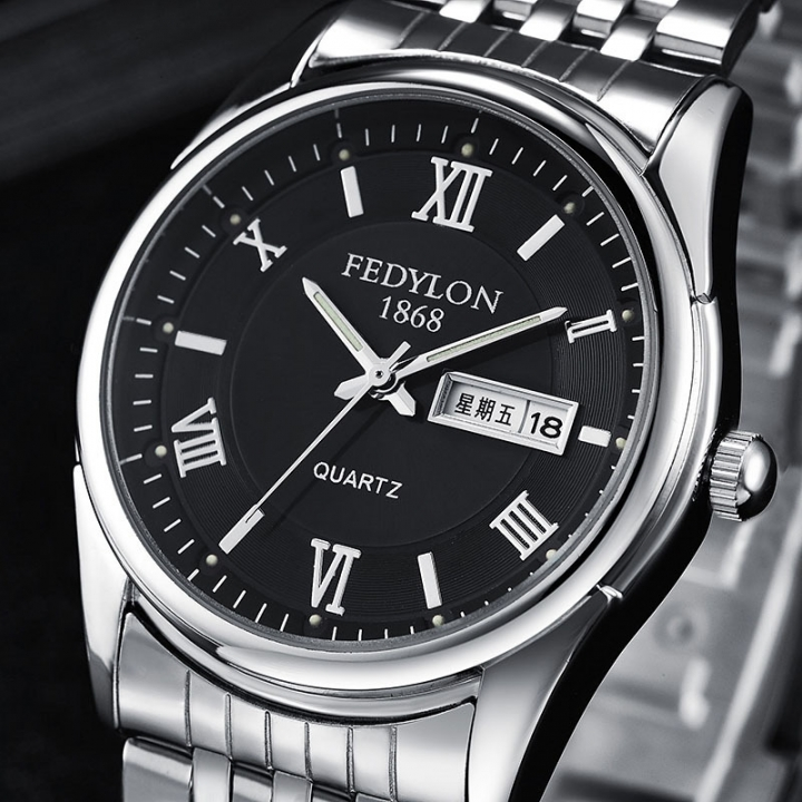 Fashion Mens Watches Luxury Stainless Steel Band Date Waterproof Business Clock Quartz Wristwatch black one size
