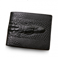 Genuine Leather Wallet Crocodile 3D Purse Men Fashion Clutches black one size