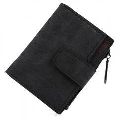 Lady Solid Color Letter Snap Fastener Zipper Short Clutch Wallet black one size
