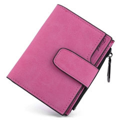 Lady Solid Color Letter Snap Fastener Zipper Short Clutch Wallet rose one size