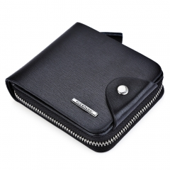 Men Solid Color Letter Hasp Zipper Short Wallet black one size