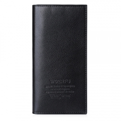 Men Lichee Pattern Solid Color Letter Open Soft Vertical Long Wallet black one size