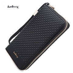 Men Weave Plaid Letter Zipper Clutch Portable  Vintage Wallet PU Leather Purse black one size