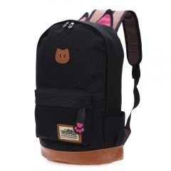 Preppy Style Cat Patchwork Canvas Zipper Buckle Girl Portable School Backpack black one size