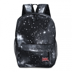 Charming Cosmos Print Unisex School Shopping Travel Portable Backpack black one size