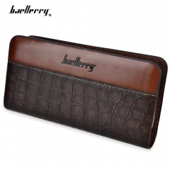 Patchwork Zipper Men Cash Coin Card Clutch Wallet brown one size