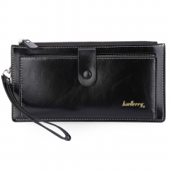 Women Solid Color Multi-card Bit Wrist Wallet Clutch Card Holder Phone Pocket black one size