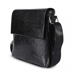 Business Half Flap Men Shoulder Crossbody Bag black one size
