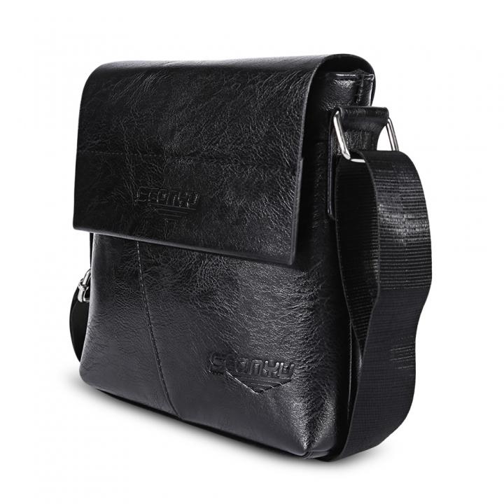 Business Half Flap Men Shoulder Crossbody Bag black one size