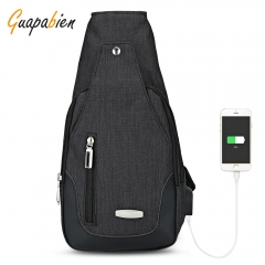 USB Charge Port Men Shoulder Crossbody Chest Bag black one size