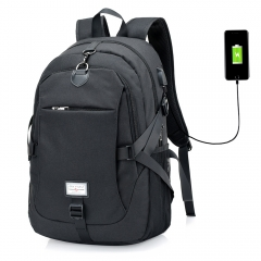 Casual Durable Canvas Men Backpack with USB Port black one size