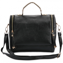 Retro Handbags Zipper Pocket PU Leather Shoulder Bag Totes black one size