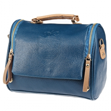 Retro Handbags Zipper Pocket PU Leather Shoulder Bag Totes blue one size