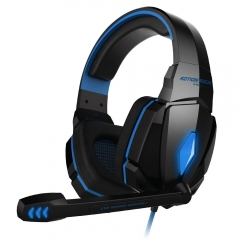Pro Gaming Headset Stereo Sound 2.2M Wired Headphone with Microphone blue