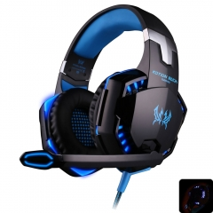 Gaming Headphone Best Computer Stereo Deep Bass Game Earphone Headset with Mic LED Light  PC Gamer blue