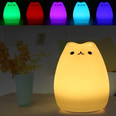 USB rechargeable LED Colorful Night Light Cat Silicone Soft Cartoon Baby Nursery Children Gift white