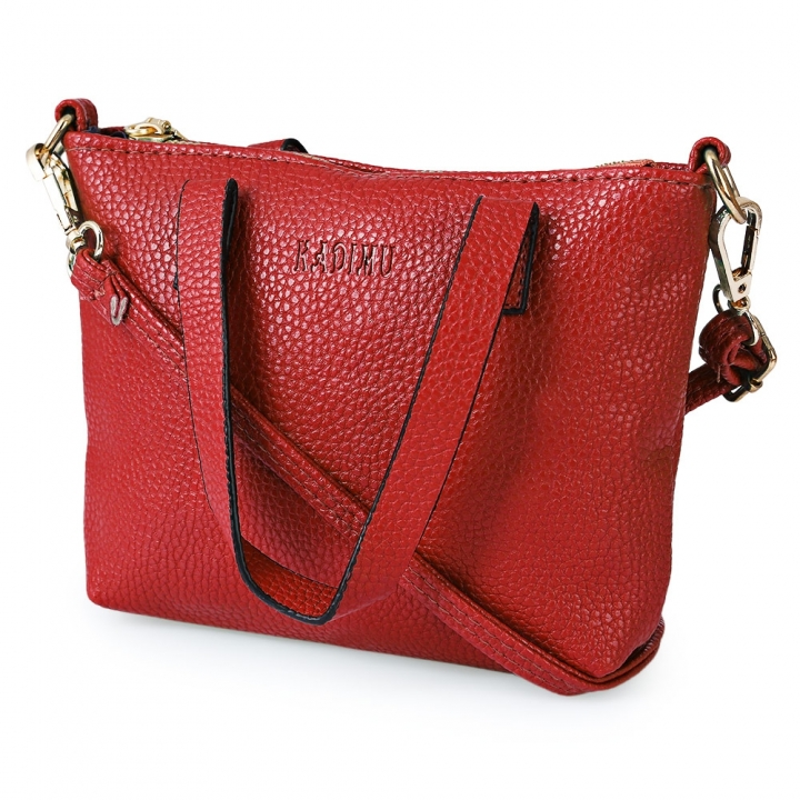 Lichee Solid Color Travel Business Party Handbag Shoulder Messenger Bag for Women red one size