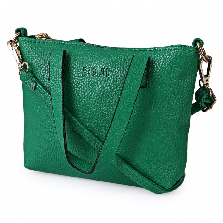 Lichee Solid Color Travel Business Party Handbag Shoulder Messenger Bag for Women green one size