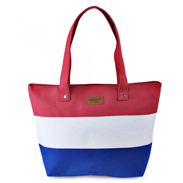 Guapabien Stripe Lettering Canvas Zip Tote Bag Carrying bag women handbags red one size