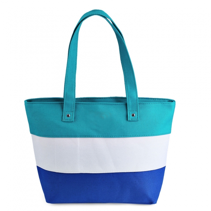 Guapabien Stripe Lettering Canvas Zip Tote Bag Carrying bag women handbags green one size