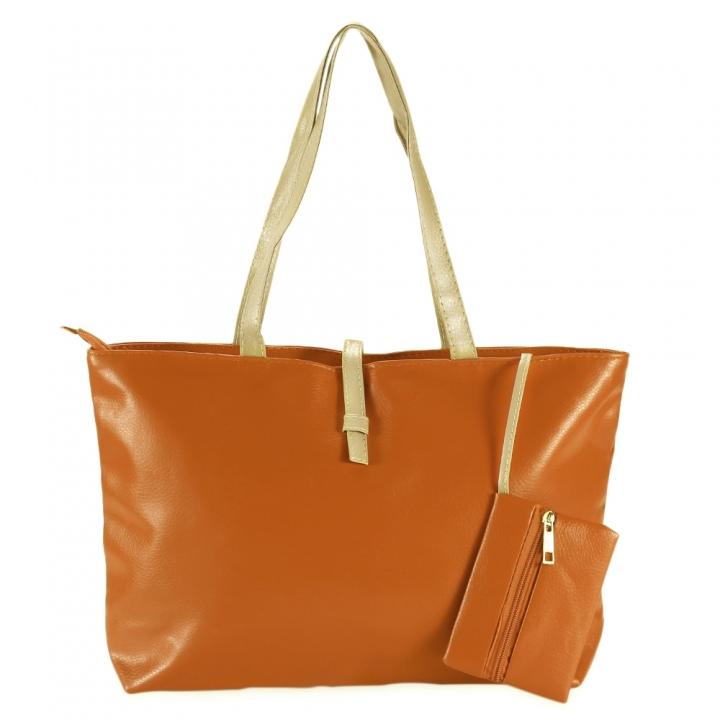 Guapabien Pure Color Belt Zipper Women Shoulder Bag Tote with Coin Purse orange one size