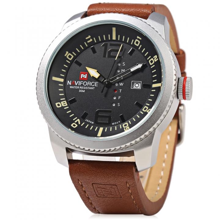 NAVIFORCE Men Sport Watches Men's Quartz Clock Man Army Military Leather Wrist Watch black one size