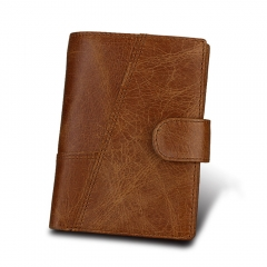 Short Genuine Leather Men Rfid Wallet Cowhide Cover Coin Purse Male Wallets brown one size