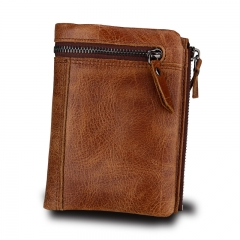 Men Wallet Genuine Leather Rfid Wallets Men Organizer Coin Short Purse brown one size