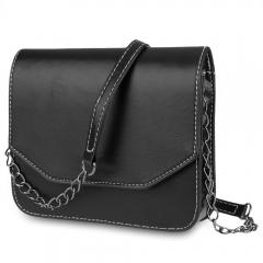 Guapabien Fashion  Magnet Button Chain Belt Strap Solid Color Shoulder Messenger Bag for Lady black one size