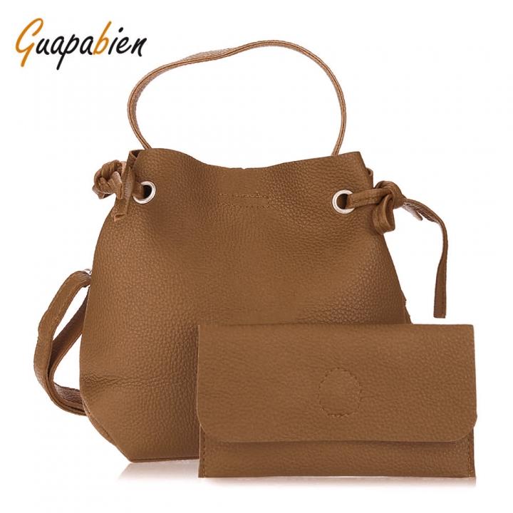 Guapabien solid color two-piece women shoulder tote bucket bag bucket bag big bag shoulder bag brown one size