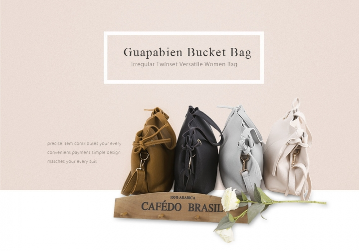 Guapabien solid color two-piece women shoulder tote bucket bag bucket bag big bag shoulder bag papaya one size