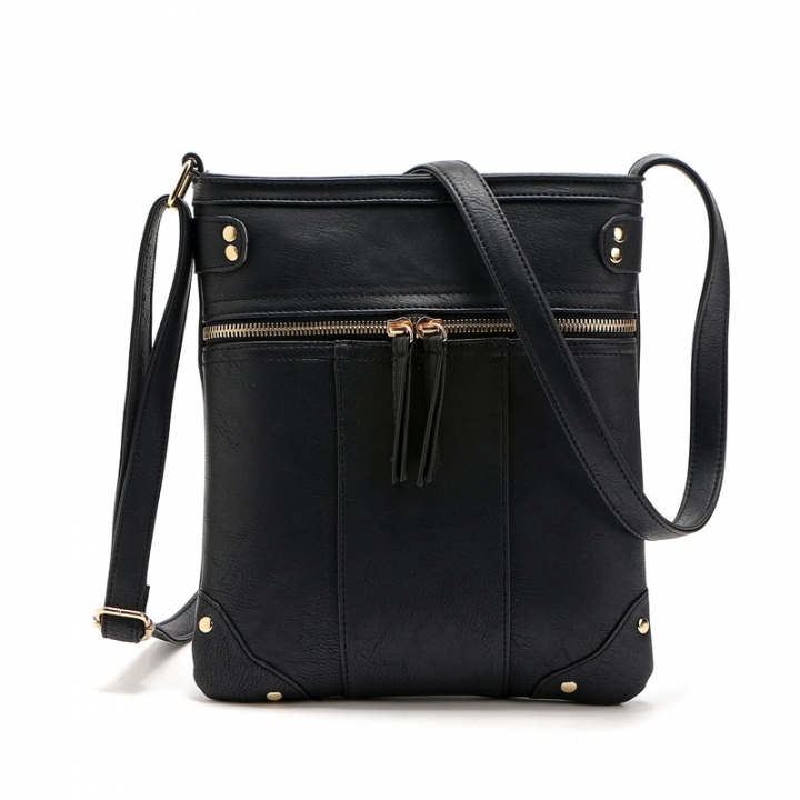 Casual Business Handbags New Rivet Messenger Bags Front pocket Copper zip Shoulder Messenger Bag black one size