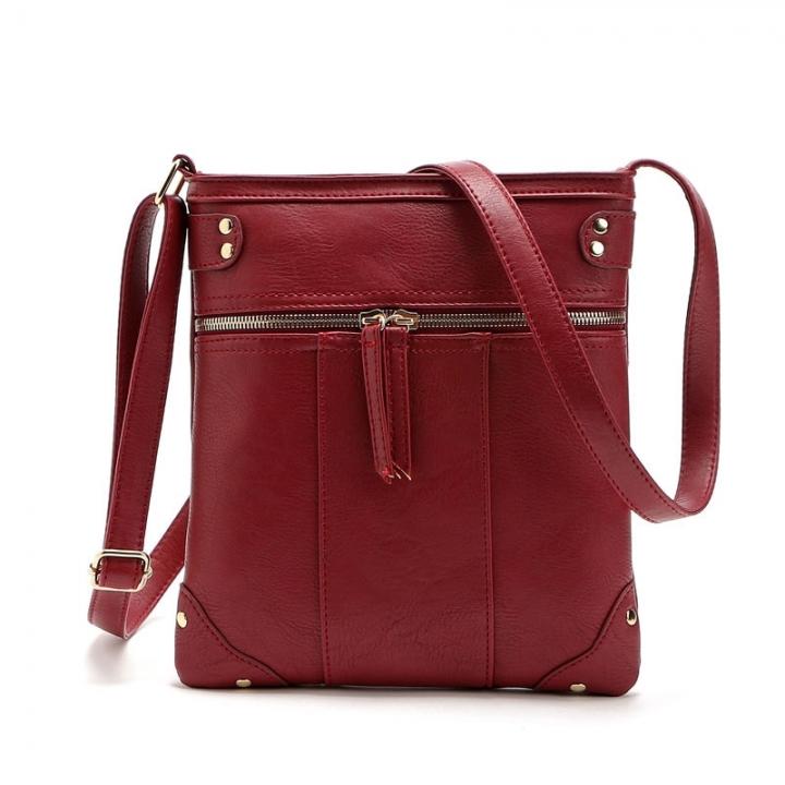 Casual Business Handbags New Rivet Messenger Bags Front pocket Copper zip Shoulder Messenger Bag purplish red one size
