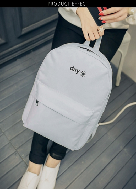 Stitchwork Letter Sun Oxford Unisex Portable Backpack  Urban Life Style Shoulders Bag Unisex gray one size