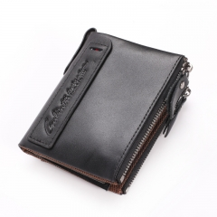Crazy Horse Genuine Leather Men Wallets Credit Card Holders Double Zipper Cowhide Leather Purses 406#black one size