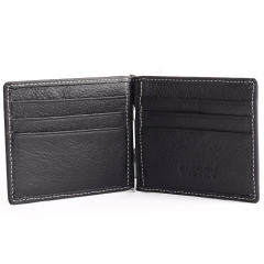 Men Genuine Leather Money Clips Wallet Male Brand Card & ID Holder Dollar Clip Credit Card Case black one size